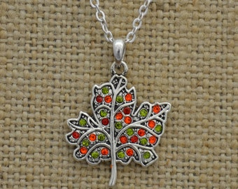 Autumn Leaf Rhinestone Necklace Fall Thanksgiving Jewelry
