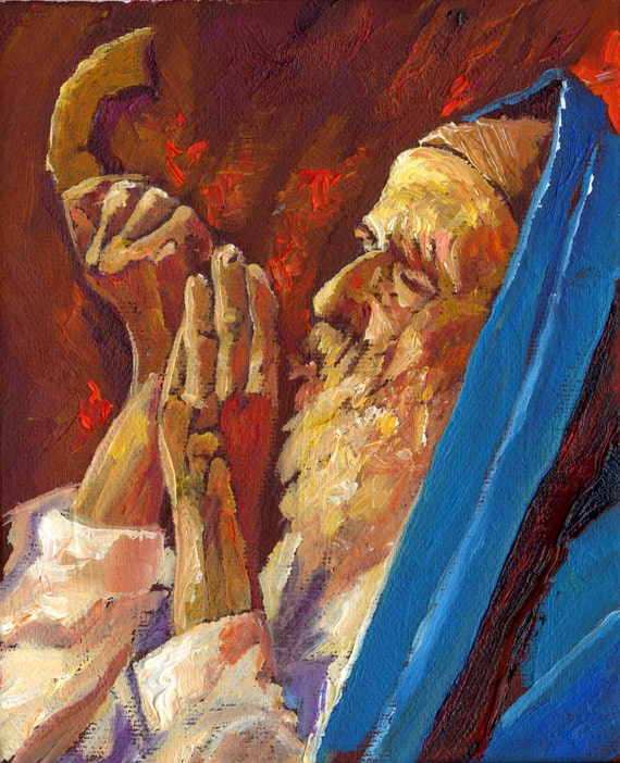 Judaica art shofar ram horns jewish art judaica print of for Israeli artists oil paintings