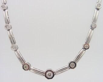 0.92 C.T.W Ladies Round Cut Certified Diamond Necklace White Gold