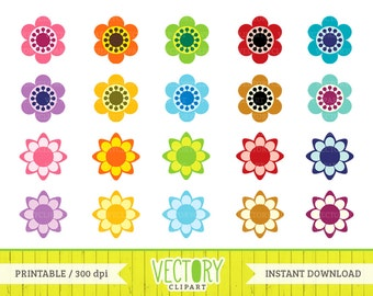 20 Flower Clipart, Flowers in Multiple Colors, Retro Flower Clipart, Flower Images with Transparent Background, Flower PNG files by Vectory
