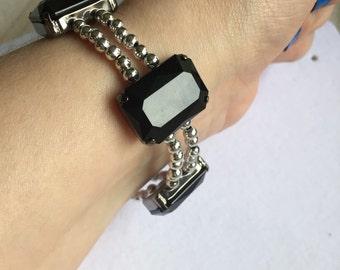 Black and silver gem bracelet