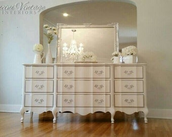 UNAVAILABLE! Hollywood Glam White & Silver Chrome French Provincial Dresser and Mirror Shimmer Metallic Boudoir Serpentine 2 pieces