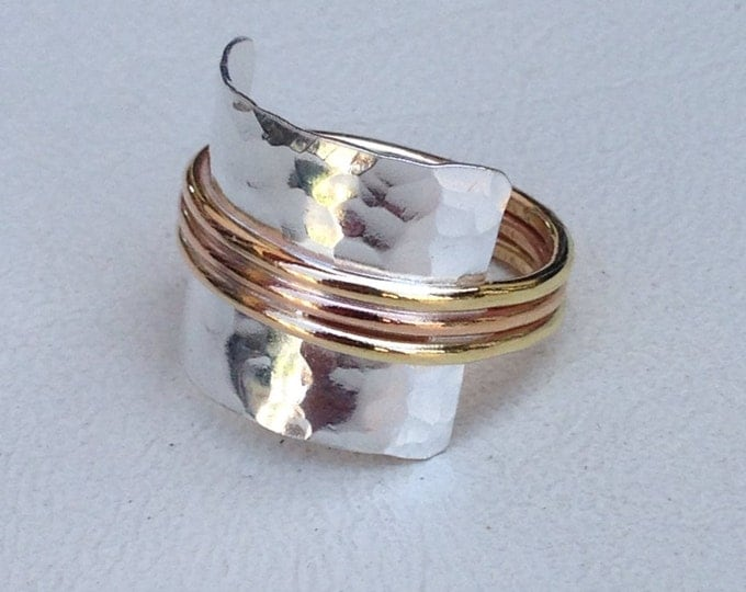 Hammered Sterling silver with rose gold fill and gold fill bands