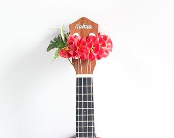 ribbon lei for ukulele / pink orange / ukulele accessories / ukulele decor / mandolin / banjo / hawaiian lei / satin ribbon / flower ribbon