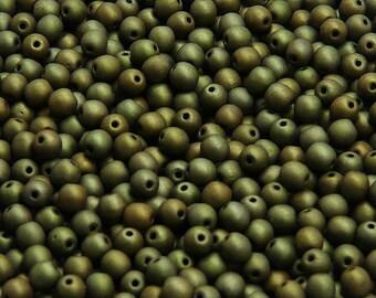 100pcs Czech Pressed Glass Beads Round 4mm Jet Matte Green Luster