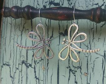 Antique Tibetan Silver Dragonfly Earrings