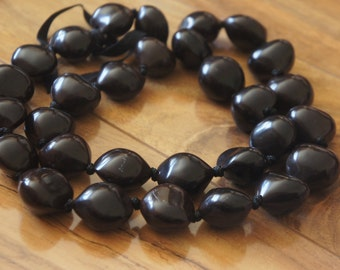 Estate Vintage Jewelry Necklace   Beads Beaded Large  Big Brown  L-050