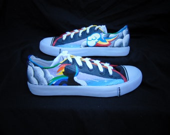 My Little Pony Rainbow Dash Hand Painted Canvas Lace Up Shoes