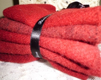 "HAND DYED WOOL Stack ""Crimson"" Same Color on Different Textures by Blackberry Primitives 