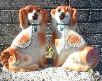 Antique Staffordshire dogs - pair of old wally dogs - russet and white spaniels - circa 1920's vintage pottery dogs