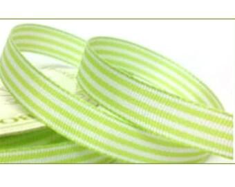 Green Pastel Candy Stripe Ribbon, 10mm wide, 5 metres, striped ribbon, craft supplies, cardmaking, UK seller