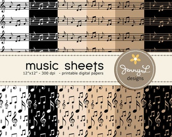 Music Sheets Digital Papers, Musical Notes for Digital Scrapbooking, Invitations and more