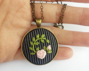 Pink Rose Necklace, Cottage Chic Flower Jewelry, Embroidered Pendant Necklace, Pink Flower Necklace, Romantic Gift