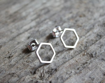 "Matte Silver Hexagon ""Honeycomb"" Stud Earrings"