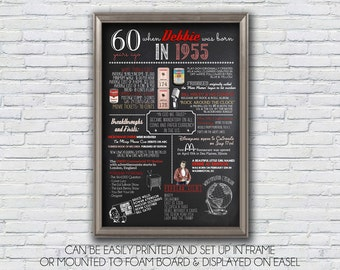 Personalized 60th Birthday 1956, 1955 or 1954 Chalkboard Poster, 1956 Events, Milestone Birthday  - High Resolution Digital File