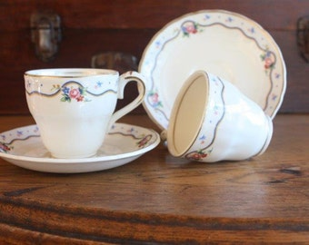 SALE - Coffee Cups and Saucers Demitasse Grindley England 'Linden Lea' pattern ~ Gift for Her Cottage Kitchen ~ Price for both