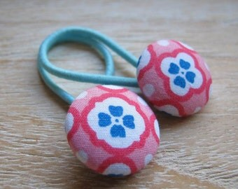 Fabric Covered Button Hair Elastic – Flower (Set of 2)