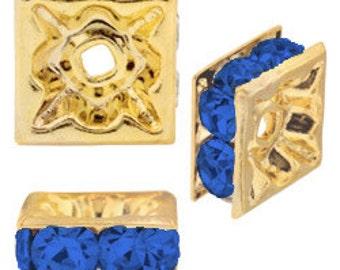 6mm Beadelle Gold/Sapphire Squardelles (72 pcs)