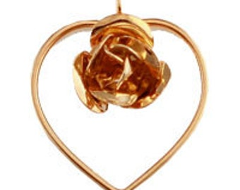Gold Plated Open Heart Pendant with Rosebud (12pcs)