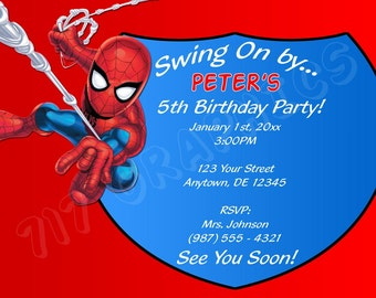 Spiderman Birthday Invitation - Printable