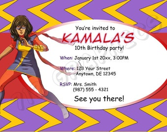 Miss Marvel Birthday Invitation - Printable
