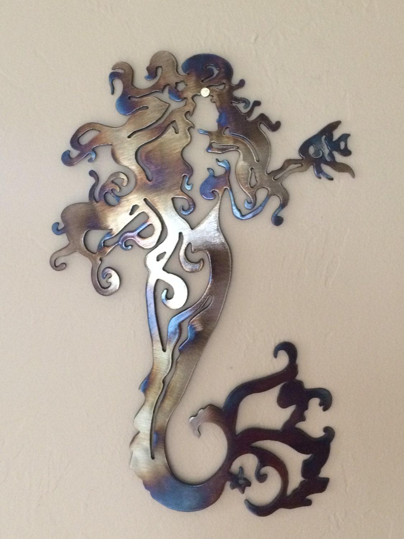 fancy mermaid metal wall art decor. Black Bedroom Furniture Sets. Home Design Ideas