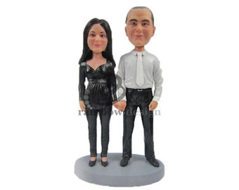 Custom Bobblehead Couple Holding Hands in Black and White Outfits, Bridal Party Custom Bobblehead, Personalized Bobblehead