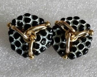 "vintage signed W. Germany  gold  tone zebra black white bead clip on earrings 1 "" diameter. signed earrings. Germany jewelry earrings."