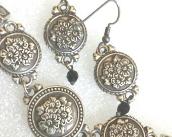 Brighton jet black bead Reversible Floral flowers bracelet earrings sets /brighton jewelry
