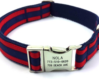 Layered Stripe Dog Collar Personalized Customized Engraved Name Buckle Navy/ Red