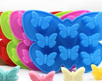8-holes butterflies mold Silicone Cake Mold Handmade Mold Chocolate Mould Ice tray cube pudding mould handmade soap mold Baking tools
