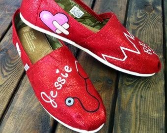 Nursing Custom Painted Toms