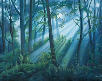 Forest Landscape Oil Painting - Fine Art Print by Emily Luella