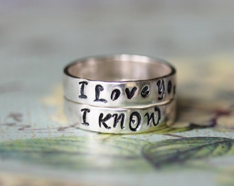 i love you i know pair of sterling silver his and hers wedding bands