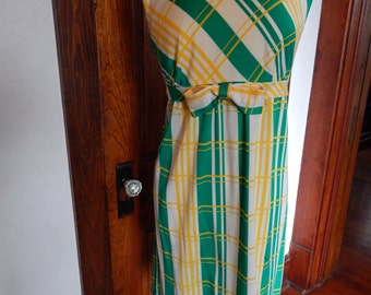 Green and yellow plaid 1960's dress