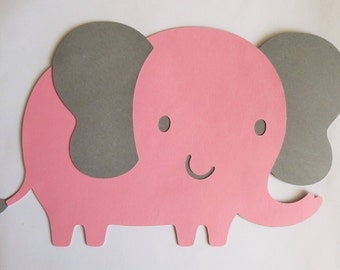 "Large Pink and Grey Elephant Cut Outs, Die Cuts, 8"" W x 5"" H"