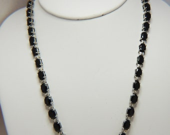 Sterling Silver Sapphire Blue Necklace & Bracelet 68 Prong Set Faceted Spinel Gem Stones