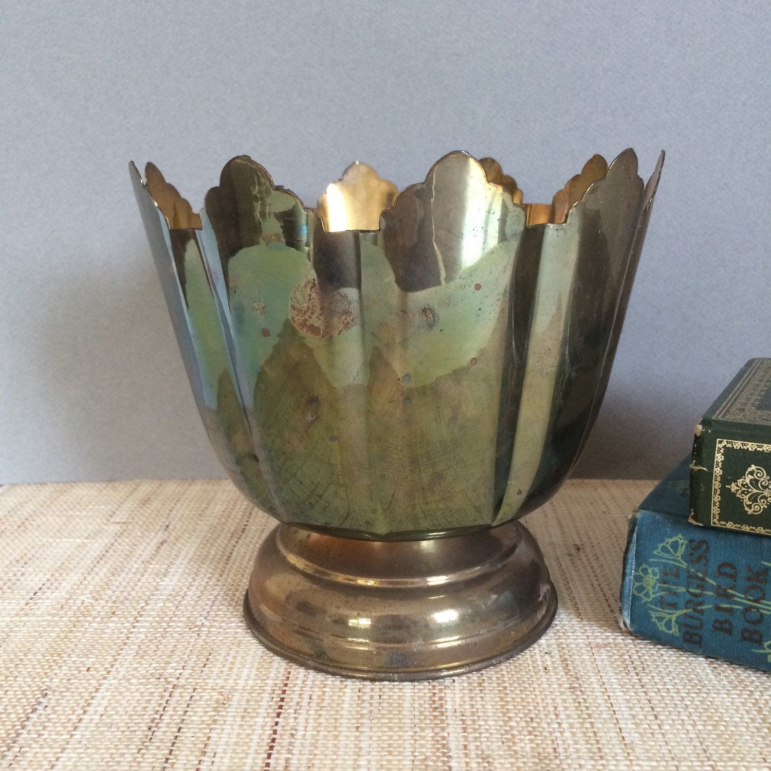 Vintage orchid planter brass footed bowl flower pot