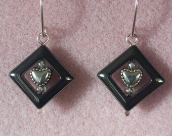 Hematite framed heart earrings
