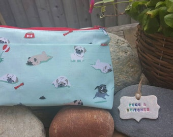 Mint Pug fabric cosmetic bag or pencil case. Red polka dot lining