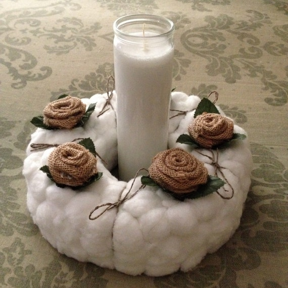 Cotton ball candle centerpiece by victorianwayside on etsy