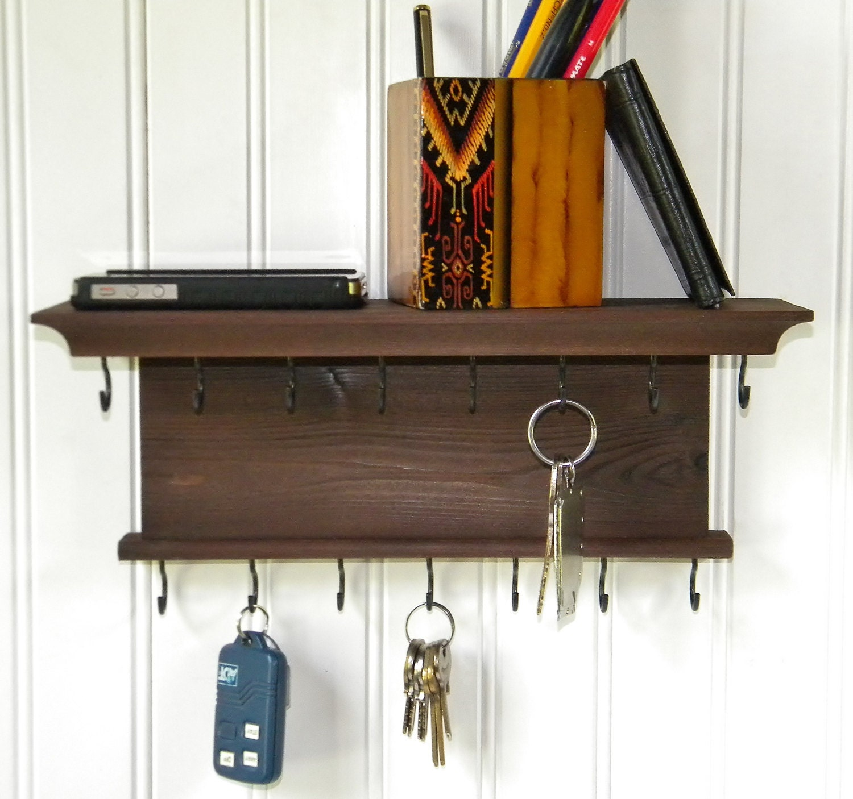 key holder wall shelf 12 wood handmade wall mounted. Black Bedroom Furniture Sets. Home Design Ideas