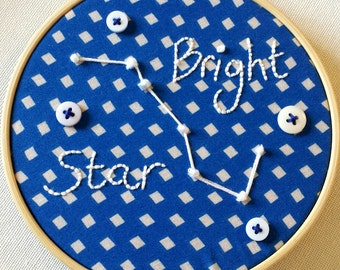 "Bright Star Astronomy Star Gazing 5"" Embroidery Hoop"