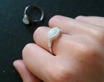 Moonstone Ring --- Wirewrapped gemstone Jewelry