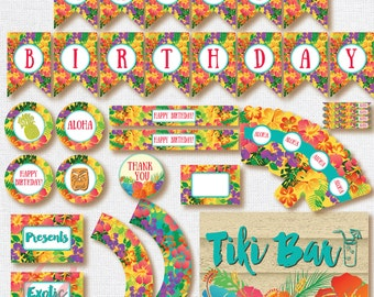 Luau Party Printables. Instant download. Printable Hawaiian birthday. Matching Luau invitation available.