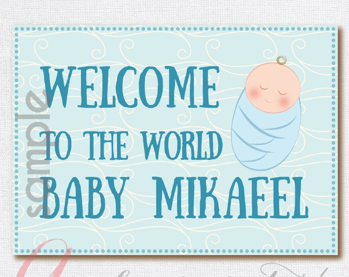 Welcome Baby sign. Nursery Sign. Baby Poster . Printable nursery poster. Boy nursery. Light blue baby sign. Instant Download Poster