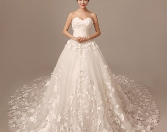 Strapless White Handmade Flower Wedding Dress with Pulling end - Style No. WD759662345