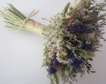 Large Purple, Blue and Cream Bridal Bouquet.  Dried Wedding Flowers for Bride.  Rustic Twine Natural Bespoke Oats, Nigella, Larkspur