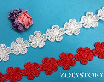 Red Lace Trim, Flower Lace Trim, Venise Lace Trim, 2.8cm x 2 yards (Z008)