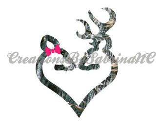Browning Deer Couple- Deer and Doe Decal- Real Tree Camo Deer- Camo Deer Decal